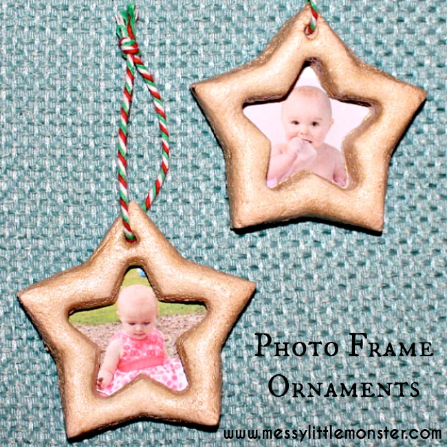 Photo frame ornaments made from a simple salt dough recipe.  A Christmas craft suitable for toddlers and preschoolers.