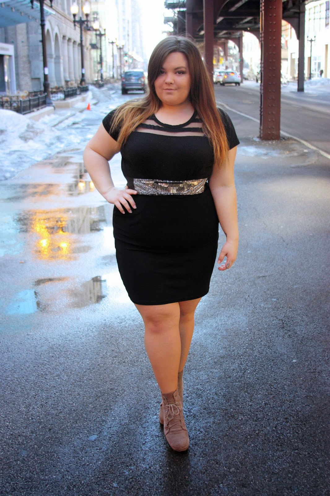 how to wear a belt, curvy fashionista, bbw, natalie craig, natalie in the city, chicago, plus size fashion blogger, curves, body positivity, fat acceptance movement, kim kardashian, ankle boots, Urban Outfitters,  ootd, outfit of the day, pencil skirt, long pencil skirt