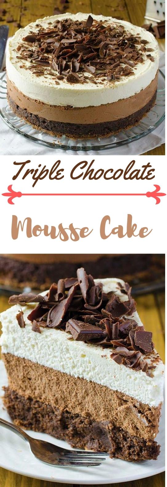 Triple Chocolate Mousse Cake Recipe #cake #chocolate