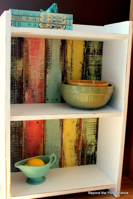 bookshelf, spring colors, pastels, reclaimed wood, pallet wood, Beyond The Picket Fence, http://bec4-beyondthepicketfence.blogspot.com/2015/02/spring-ideas-are-you-ready.html
