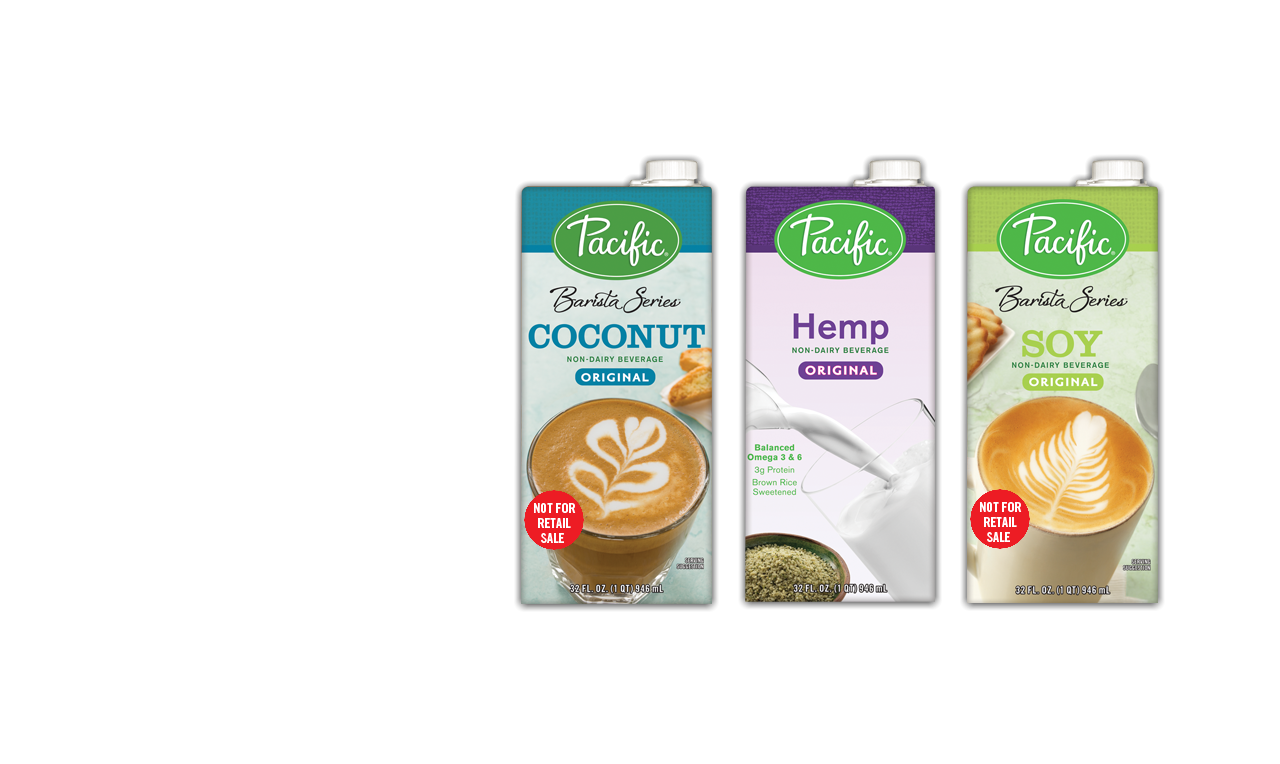 Pacific Brand - Barista Series Non Dairy Beverage Cartons brought to You by Petes Milk