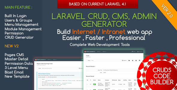 Popular scripts from CodeCanyon: Laravel CMS - CRUD Builder