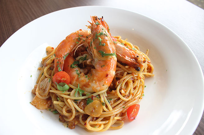 Spaghetti Prawn Paste Aglio Olio