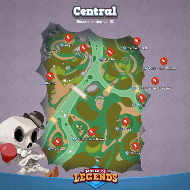World of Legends: Central Map and Boss Locations
