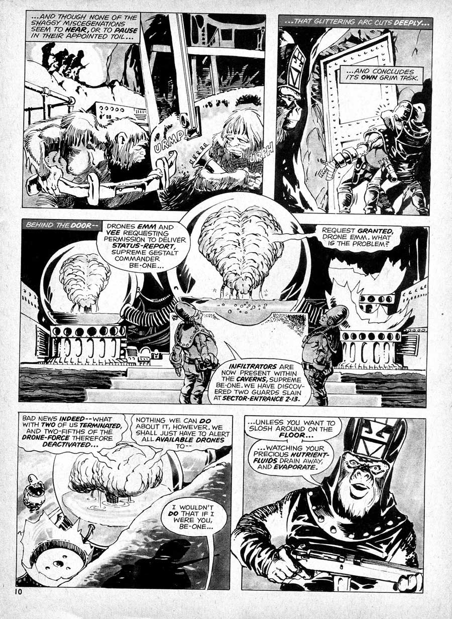Planet of the Apes v1 #14] curtis magazine page art by Mike Ploog