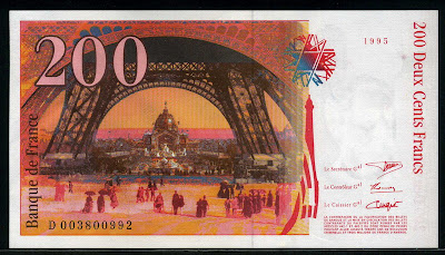 france paper money 200 french francs banknote of 1995 gustave eiffel world banknotes coins. Black Bedroom Furniture Sets. Home Design Ideas