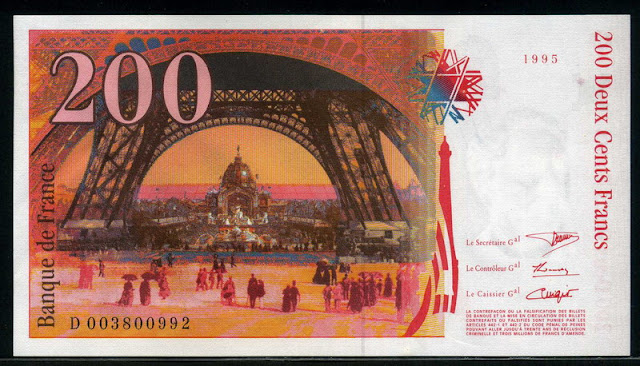 Banque de France Euro Paris French Francs banknote