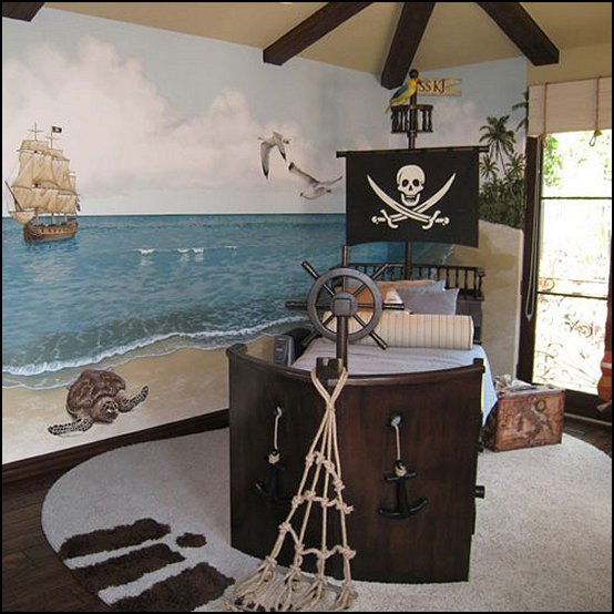 pirates of the caribbean pirate ship bed