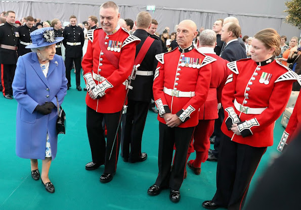Queen Elizabeth visits the Honourable Artillery Company in London. Queen Elizabeth II is greeted by Prince Michael of Kent. Queen Elizabeth Style, wore Dress, wears dreses, wedding dress, diamond tiara