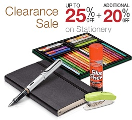 Clearance Sale on Stationary Items: Upto 25% Off + Extra 20% Off @ Amazon