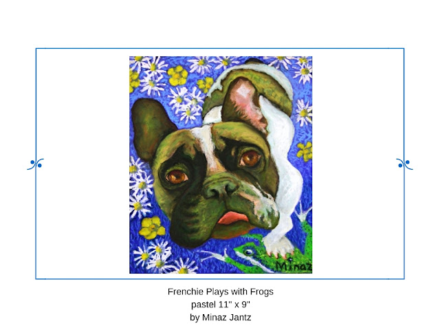Frenchie Plays with Frogs by Minaz Jantz