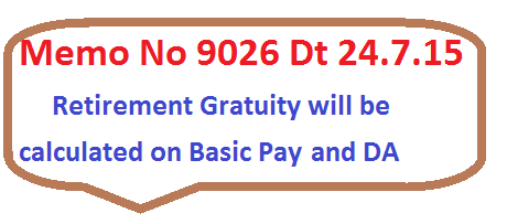 Retirement gratuity on Basic Pay and DA to Telangana Employees