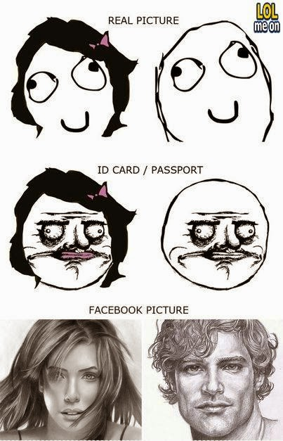 real picture vs id card vs facebook picture - funny damn fact picture