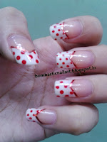 Red french manicure nails