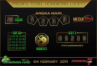 Prediksi Togel HONGKONG LUCKY7 TAMAN TOTO 04 FEBRUARI 2019