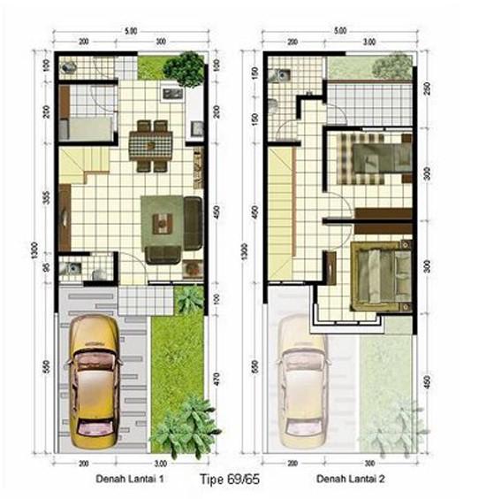 gambar denah rumah sederhana 2 lantai 2