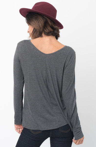Shop for Charcoal Long Sleeves Cross Front Neckline Tee Jersey Tunic Online - $30 - on caralase.com