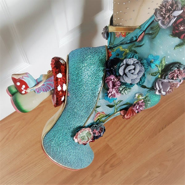 close up of fairy toadstool heel on boot