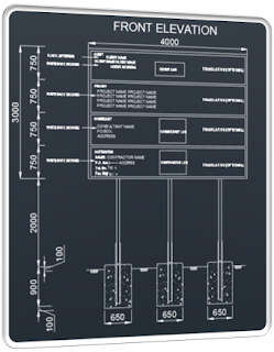 Project signboard details plan and section