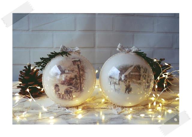 bombki, Boże Narodzenie, bożonarodzeniowe dekoracje, decoupage, DIY, home decor, ozdoby, ozdoby na choinkę, świąteczne inspiracje, święta, tutorial, z papieru, zima,