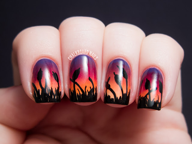 Chalkboard Nails cattails over sponged sunset gradient nail art