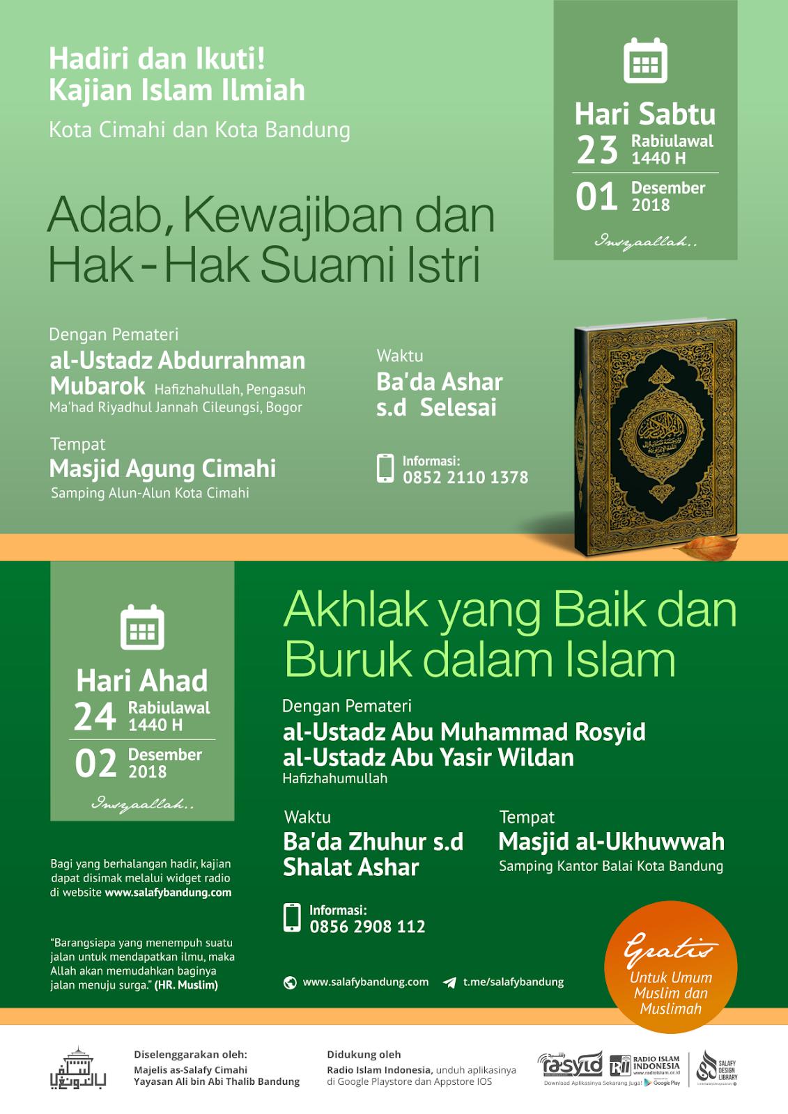 Kajian Islam Ilmiah Kota Cimahi dan Kota Bandung 23-24 Rabiulawal 1440H/1-2 Desember 2018