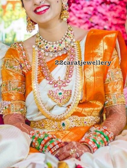 Bride in Traditional Jewelry and Navaratan Set