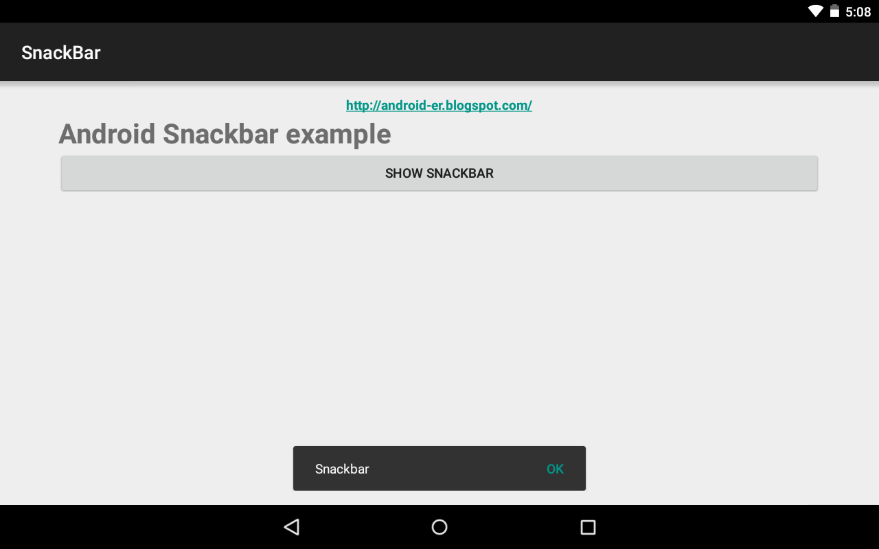Android-er: Android Snackbar example of Android Design Support Library