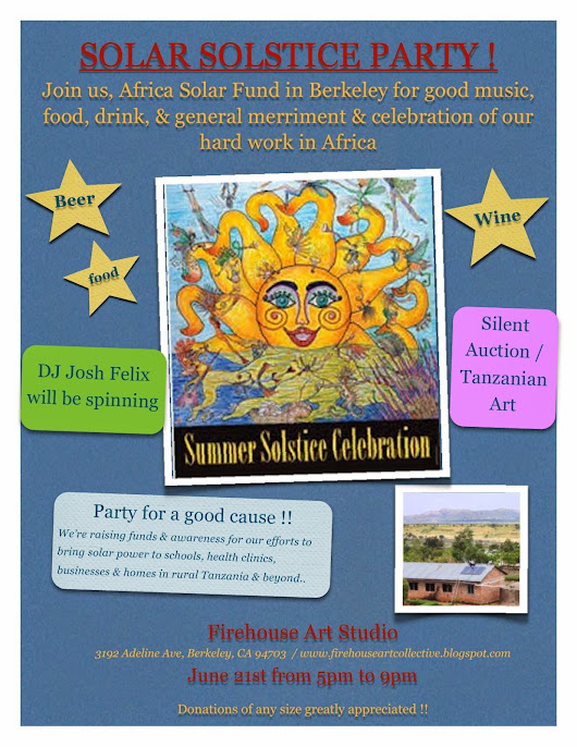 Solar Solstice Party in Berkeley w/ Africa Solar Fund !!