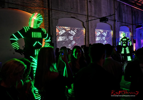 Electric light robots - UE Boom 2 Launch at Carriageworks Sydney #PartyUp photographed by Kent Johnson for Street Fashion Sydney.