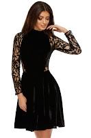 Rochie din Catifea Natalia Neagră