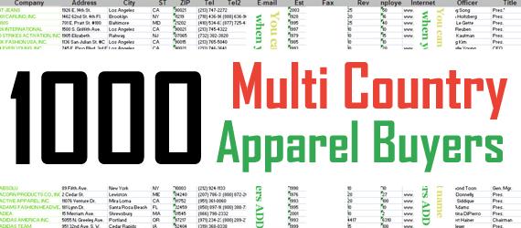 1000 RMG Multi Country Clothing Buyersrmg buyers, rmg Importers, rmg