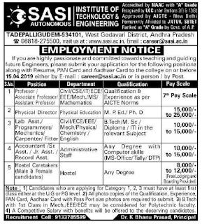 Sasi Institute of Technology and Engineering, Tadepalligudem Recruitment 2019 Professor/Associate Professor/Assistant Professor Jobs Notification
