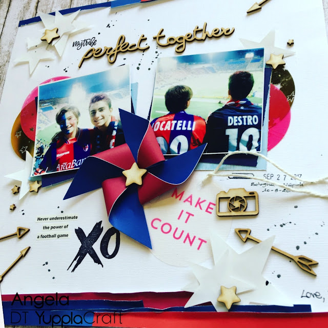 Perfect Together Scrapbook Layout by Angela Tombari for Yuppla Craft DT