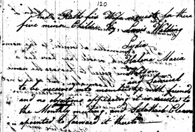 Climbing My Family Tree: Part 2: Gwynedd Preparative Meeting, Montgomery County, PA  17 Mar 1819 (p120)