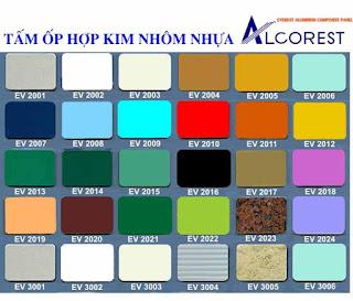 Bảng mã màu Alu tấm ốp nhôm nhựa Alcorest