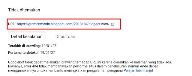 Klik url yang bermasalah lalu salin url yang tidak ditemukan.