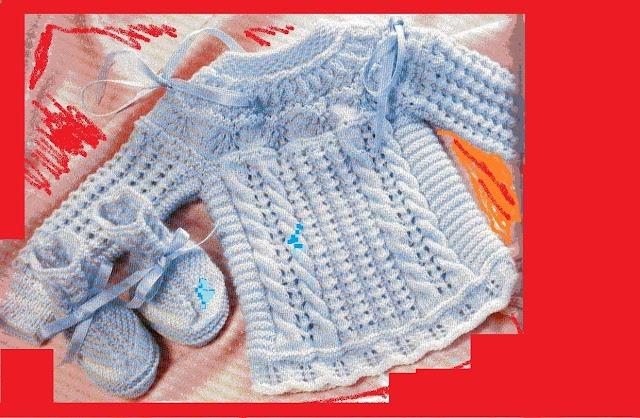 Casaquinho E Sapatinho Bebê Em Tricô para Recém Nascido