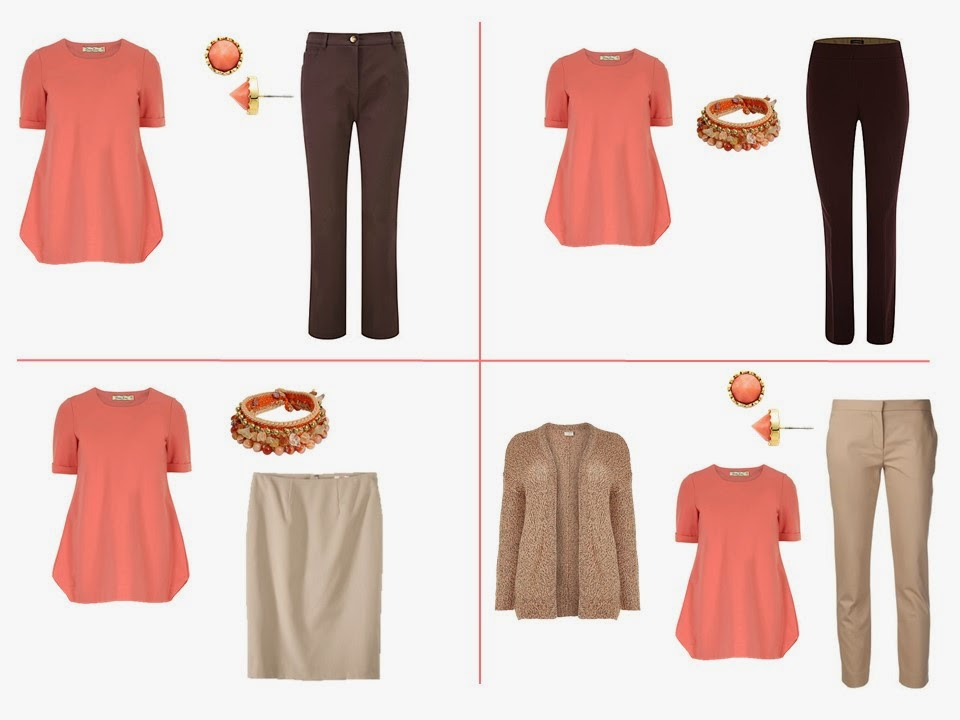 wear coral and brown together, wear coral and beige together, wear coral and khaki together