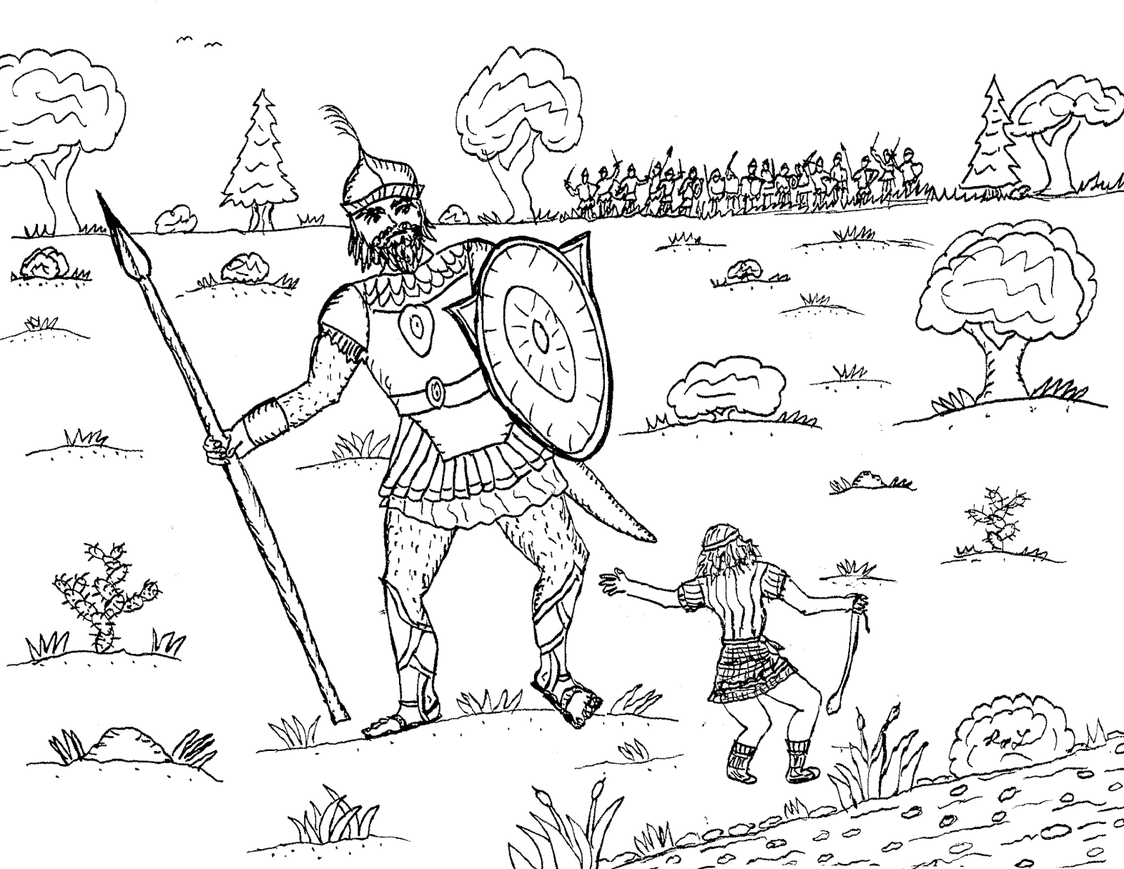 Robin S Great Coloring Pages David And Goliath