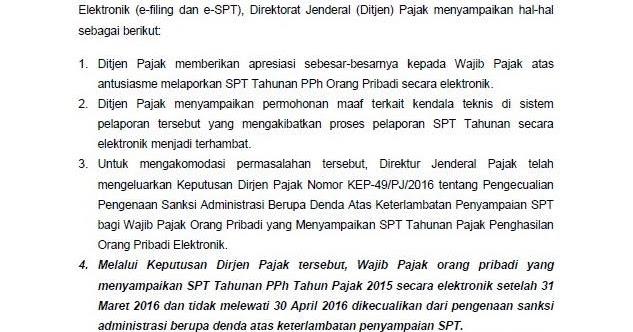 Pelaporan SPT Pajak Online Diperpanjang ~ Cara Online