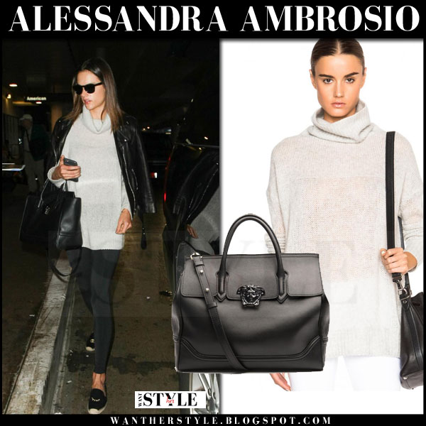 Alessandra Ambrosio in light grey turtleneck sweater rag and bone philipa what she wore streetstyle