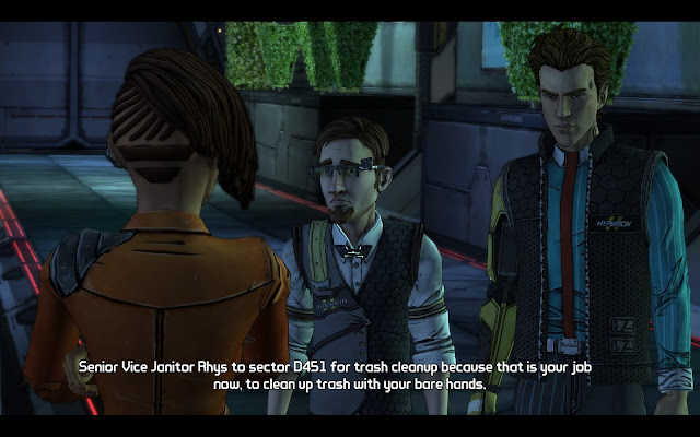 Screenshot from Tales from the Borderlands with Rhys, Vaughn and Yvette
