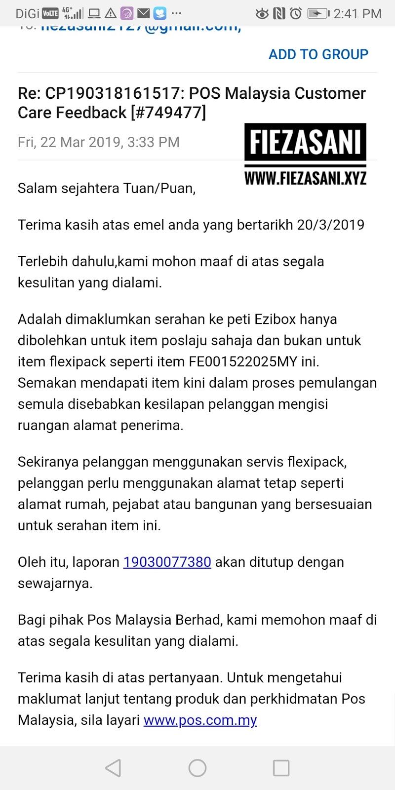Jawapan Dari Pihak Pos Malaysia