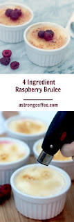 4 ingredient raspberry brulee, and easy to make and delcious dessert that can be made in advanced. Using a blow torch to caramalise the sugar to make a crunchy top