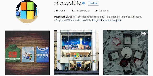 Microsoft social media recruiting instagram