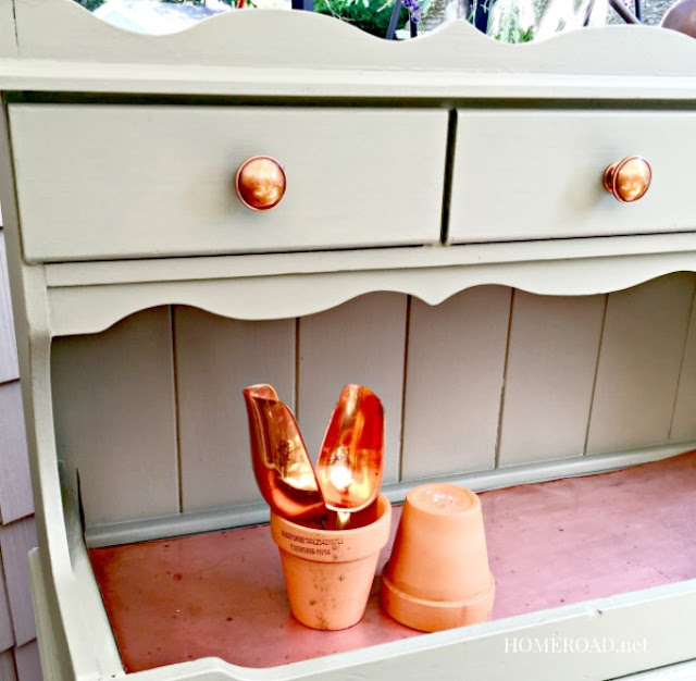 A Vintage Copper Hutch Potting Bench  with copper accessories