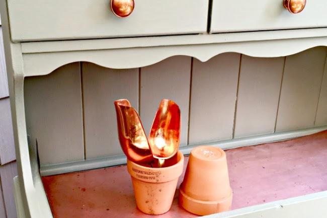 A Vintage Copper Hutch Potting Bench