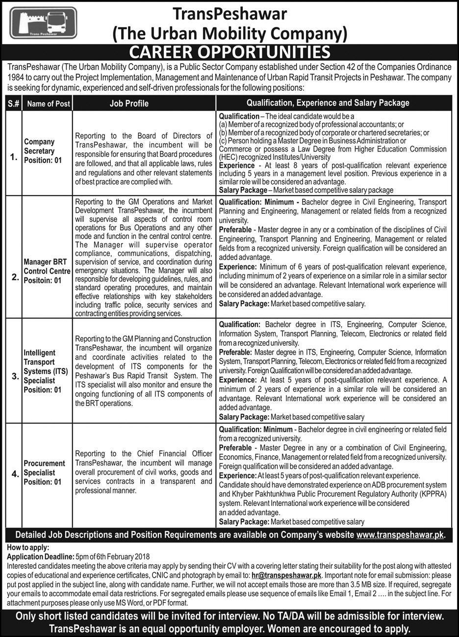 Jobs In Transpeshawar The Urban Mobillity Company January 2018