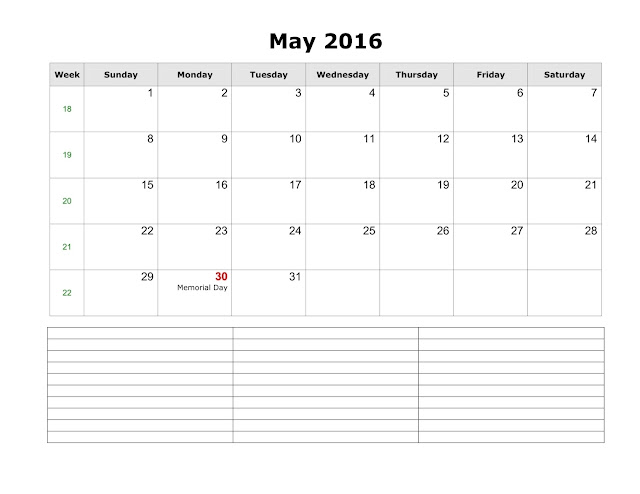 May 2016 Printable Calendar Cute, May 2016 Calendar with Holidays Free, May 2016 Calendar Word Excel PDF Template, May 2016 Blank Calendar Templates Download Free